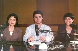 Mira Graçano, José Wille e Fernanda Rocha, âncora da CBN Curitiba em 1997.