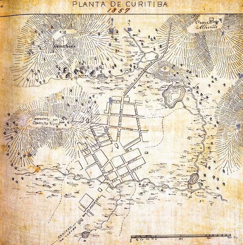 Mapa de Curitiba em 1857 - Portal JWS