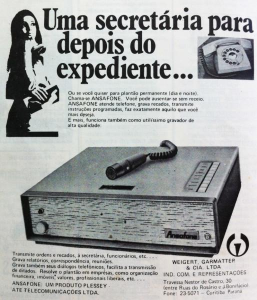 memória - secretária eletrônica de 1971 em anúncio da Revista TV Programas de Curitiba